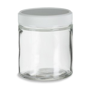 "Glass Jar 4oz Clear Straight-sided w/ White Plastic Lid, FDA, 2.34""DiaX44""H"