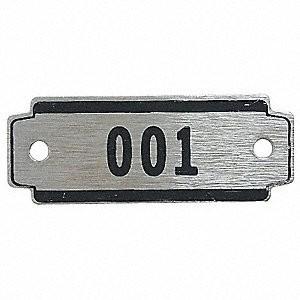 Locker Number Plate, Numbers 26-50, Black on Aluminum