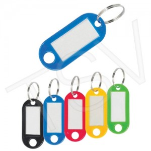 Key Tags w/ Window Box, Plastic, Blank,20/Pkg, Multi-Coloured