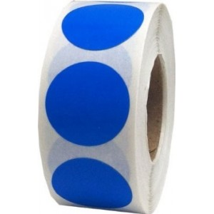 "1.5"" Blue Circular Stickers 1000/Roll"