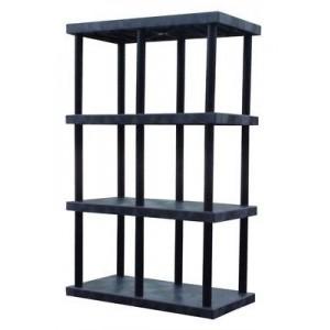 "Shelving, Industrial Plastic, 48x24x75"", Cap.340lbs, Black HDPE 4 Shelves"