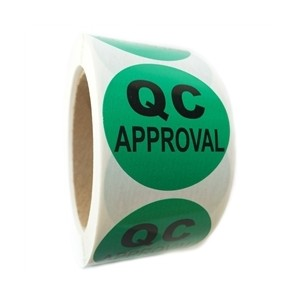 """QC Approval"" Circle Inventory Control Labels 2"" 500/Roll Green 3""Core"