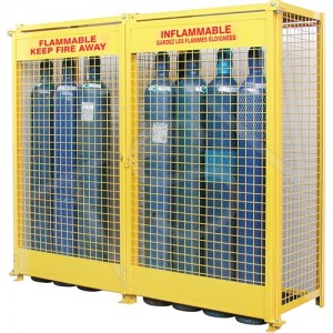 """Gas Cylinder Cabinets 74""""x88""""x30"""" yellow/holds 20 cylinders"""