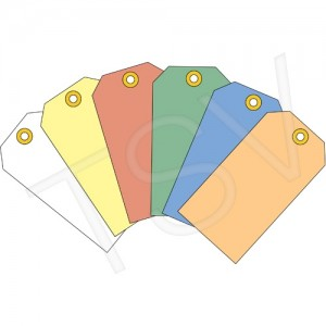 """Coloured Blank Tags Material: Cardstock Dimensions: 1-7/8"""" W x 3-3/4"""" H, 1000/pkg"""