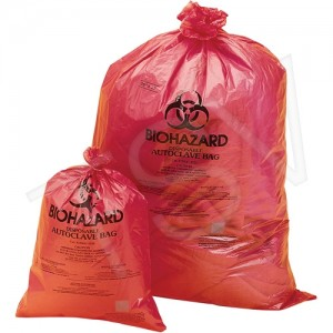 "Garbage Bag, Biohazard , Red/Orange, 19""LX 14""W, 200/CS, X-strong"