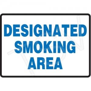 Sign Smoking Area Eng. Aluminum 14 X 10