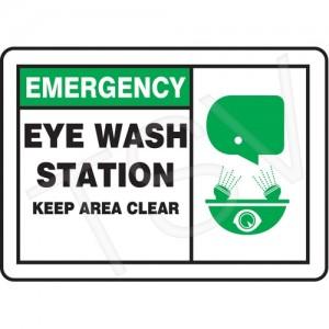 "Sign, ""Eyewash station"", English/Pictogram, 10X7"", Plastic,Bolt-on"