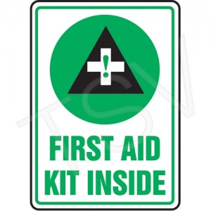 "Sign ""First Aid Kit Inside"", Vinyl, Adhesive, 7X10"" English/Pictogram"