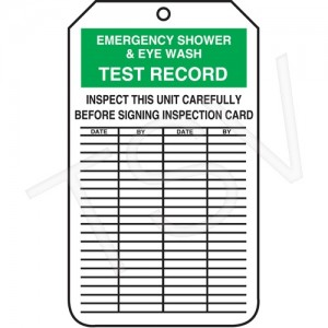 "Eyewash Inspection Tags  Width: 3-1/8"" Height: 5-7/8""; 25 per pack"