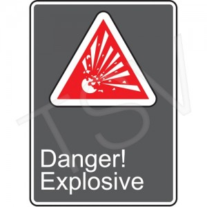 "Sign,""Danger-Explosive""w/Pictogram, Plastic, 10x14"" Bolt-On"