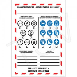 """WHMIS Workplace Label 5 X 3.5"""" Adhesive Vinyl  Product Identifier"""