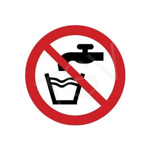 "Sign, ""Not Drinking Water"" Pictogram 2x2"" Vinyl, Adhesive 10/Pkg"
