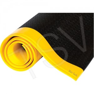 "Anti-Fatigue Mat, 3'X12', 9/16"" Thick, Black/Yellow, Diamond Tread"