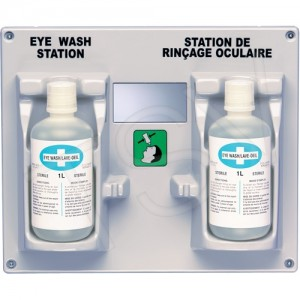 Eyewash Station & Solution, Wall-Mount, Plastic, Double,w/mirror 1L Bottles