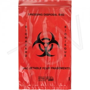 "Infectous Waste Bags, 9""X6"", Red, 25/Pkg, Regular Strength"