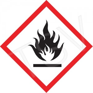 "GHS Pictogram Labels, ""Flame"", Vinyl, Adhesive, 2""X2"", 500/Roll"