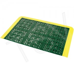 "Emergency Shower Station Mats Width: 2-1/4' Length: 3-1/2' Thickness: 5/8"" Colour: Yellow/Green"