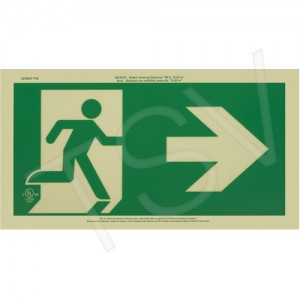 "Sign Ultra Glow Running Man w/ Arrow Exit Sign - Right 9.5""X16.25"""