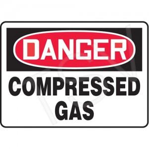 """Sign """"Danger-Compressed Gas"""" 7""""X10"""" Plastic, Bolt-On"""