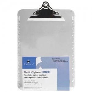 "Sparco Transparent Plastic Clipboards 9""X12"" Clear"