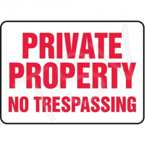 "Sign ""Private Property"" 7-x10"" Aluminum, English, Bolt-on"