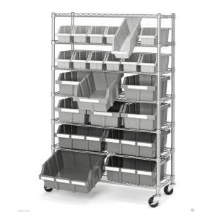 "Slanted Wire Shelving 48X18X72"" w/ 16  Black Bins18x11x10"" 4 Shelves"