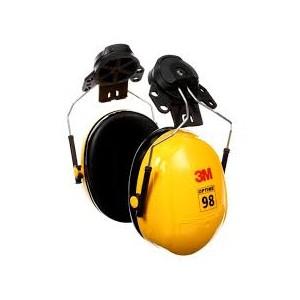3M PELTOR OPTIME 98 CAP-MOUNT EARMUFFS, H9P3E, BLACK PER YELLOW