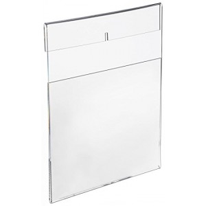 8.5X11 Acrylic Sign Holder, Wall mount, Side Insert, Clear, w/Adhesive