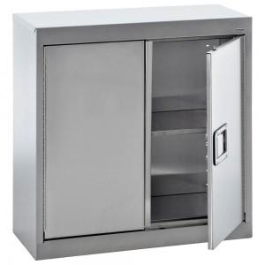 """Cabinet Wall-mount, Gray, 36X14X27"""", Assembled 2 adj Shelves, 2 doors"""