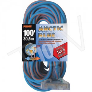 Extension Cord, All-weather, 100',15 Amp, Blue/Orange