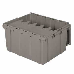 Attached Lid Container 17 gal, 24 x 19-1/2 x 12-1/2, Gray (39175)