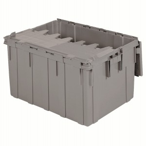 Attached Lid Container 28 gal, 28 x 21 x 15-1/2, Gray (39280)