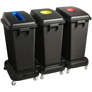 T-Rex Wastebin Combo(1 Slot Blue/2 Round Red/Yel)-Black Pack of 1       Price Per    EA