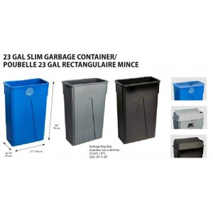 Rectangular Slim Garbage Container 23G - Blue Recycle Pack of 4       Price Per    EA
