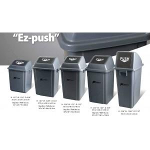 Ez-Push Square Garbage Container 60L w/Lid - Grey Pack of 5       Price Per    EA
