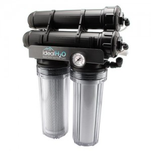 Ideal H2O Premium 3 Stage RO System wper Coconut Carbon Pre Filter + PSI Gauge  200 GPD