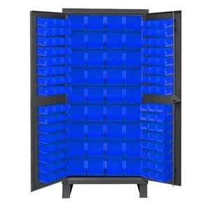 "Bin Storage Cabinet 36x24x78"", 138 Green Bins, 16 gauge"