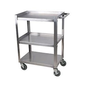 "Stainless Steel Bus Carts, 31"" x 19"" x 35"" H,"