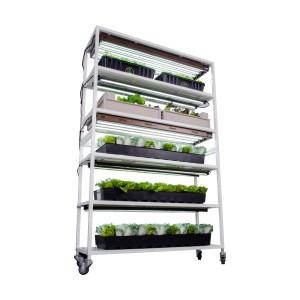 Vertical Grow Plant Cart Shelf System - 6 Shelves w/ Casters