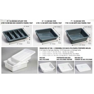 """4"""" Bus Box Cutlery Tote - 13""""x21.5""""x4""""H - Grey Pack of 4       Price Per    EA"""