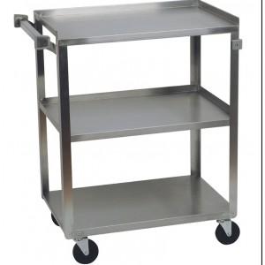 """3 Stainless Steel Shelf Cart, 15 1/2"""" x 24""""  Shelves, 300 lb.  Capacity"""