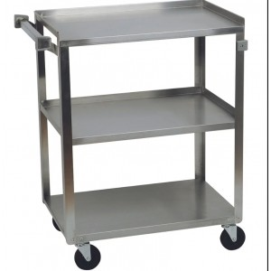 "3 Stainless Steel Shelf cart, 18"" x 27"" shelves, 300 lb. capacity"