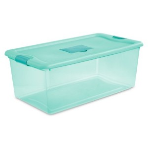 Sterilite, 106 Qt./100 L Fresh Scent Box, Aqua Tint, 4 Pack