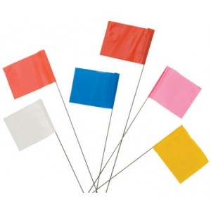 "Marking Flag Vinyl PVC Staff 4""x5"" Yellow 24"" PVC Plastic St 100/Pkg 1000/CS"