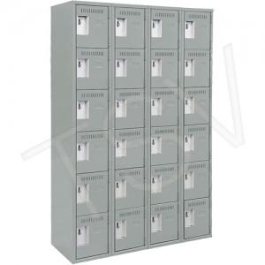 "Lockerette, Economy Steel Lockers, Assembled, 6 Tiers, 4 Banks, 18""D X 72""H"