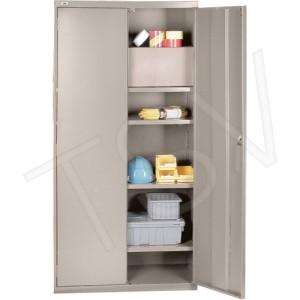 "All-Welded Hi-Boy Storage Cabinet / Beige 72"" x 36"" x 18"" 4 Shelves"
