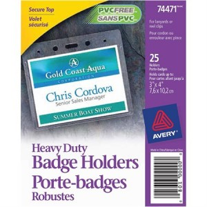 "Heavy-Duty Name Badge Holder, 4"" x 3 Vertical, Pack of 25"