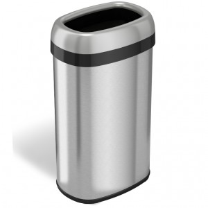 16 Gallon Stainless Steel Oval Open Top Trash Can