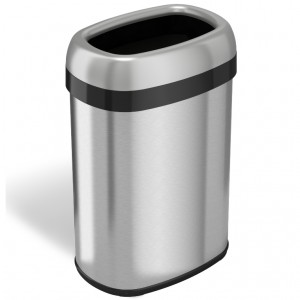 13 Gallon Stainless Steel Oval Open Top Trash Can