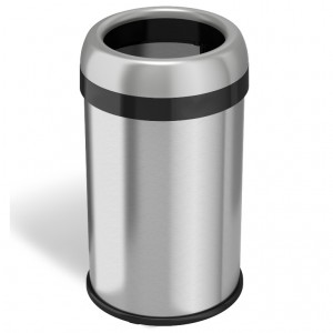 13 Gallon Stainless Steel Round Open Top Trash Can